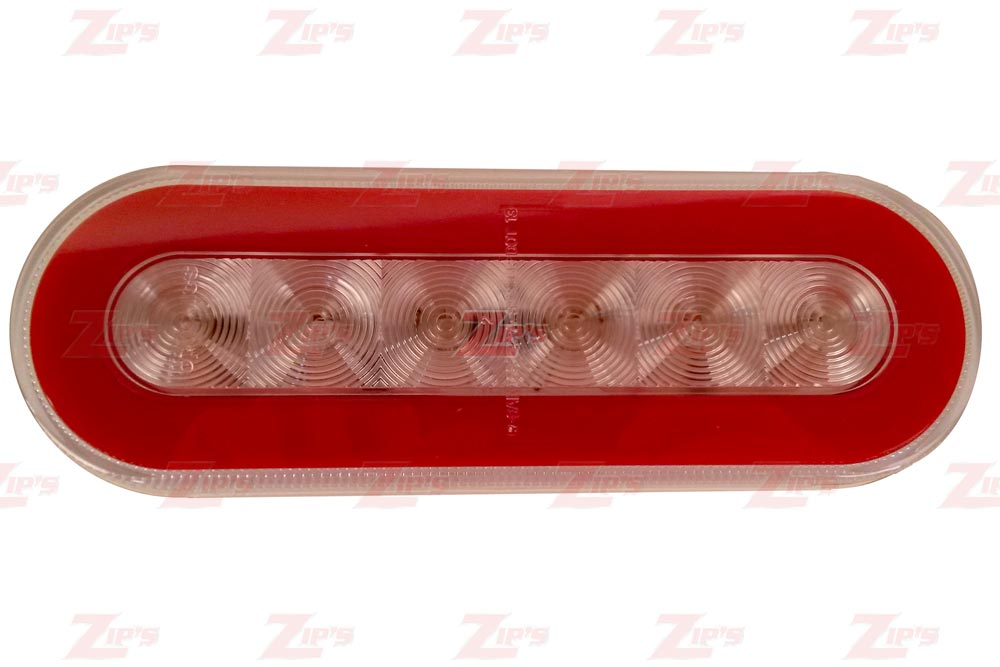 "Miller, 6"" Oval Light, Clear/Red"