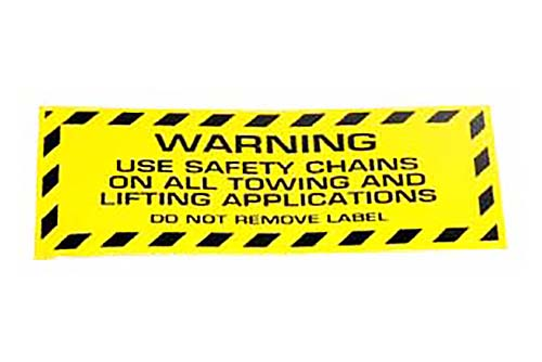 Miller Industries Safety Chain Warning Decal