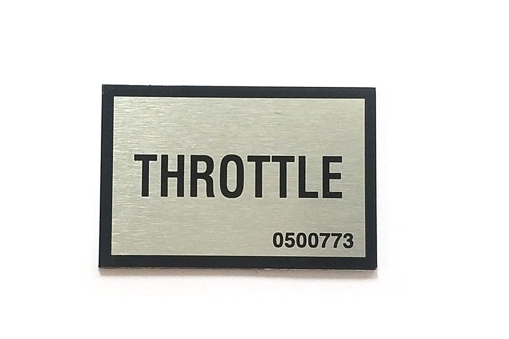 Miller Throttle Decal Plate