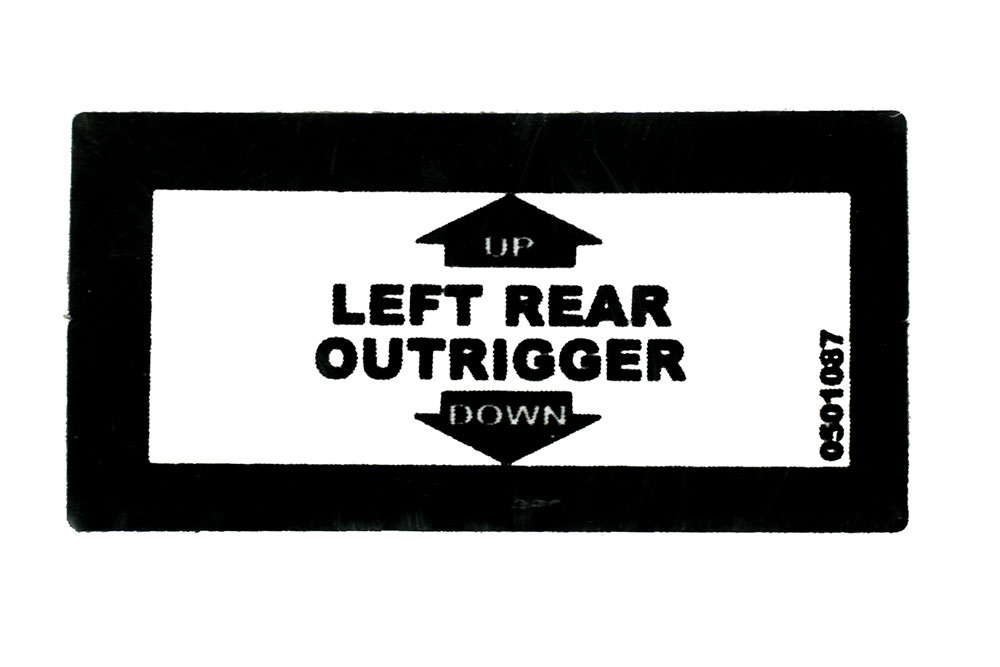 Decal  Lt. Rear Outrig Up/Dn