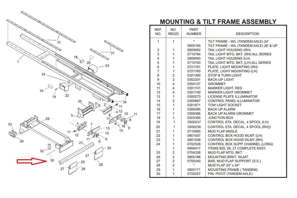 "Miller Bed Pivot Pin 28.5"" x 2"" Century Tandem Axle"
