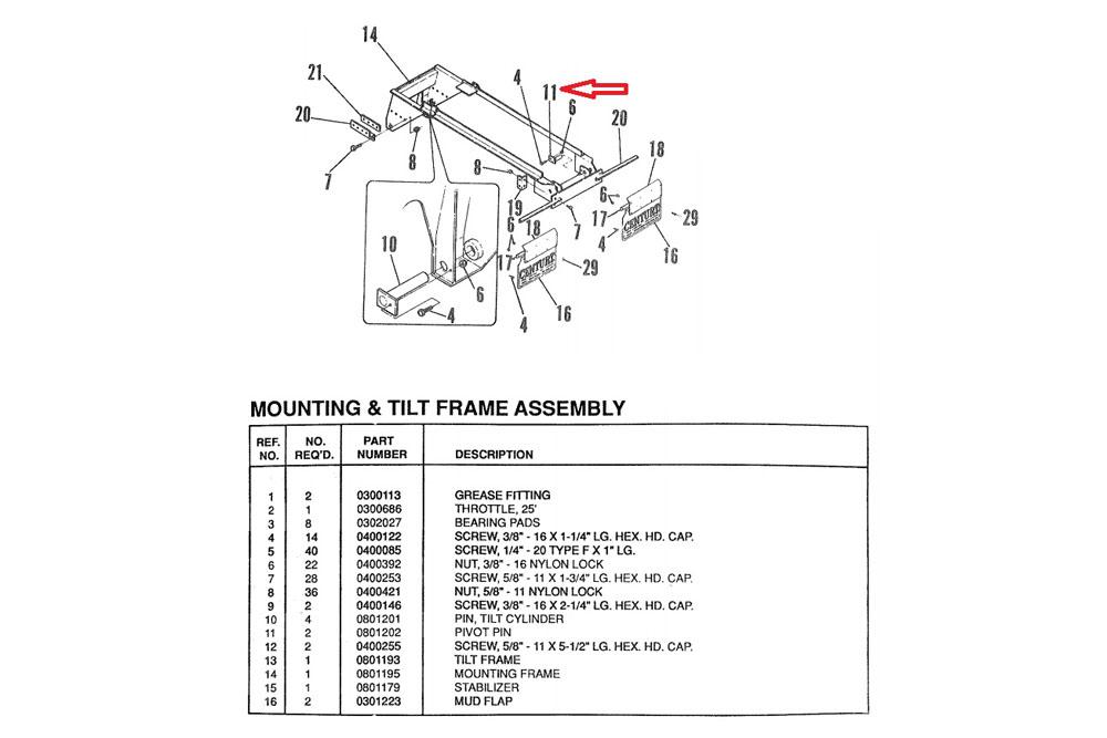 Miller Bed Pivot Pin Century 20 Series