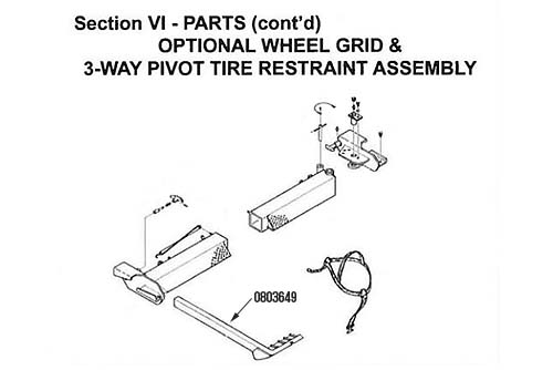 Miller Pivot Tire Restraint, Century / Champion / LCG, Right, Not Available, Use 12-0904157