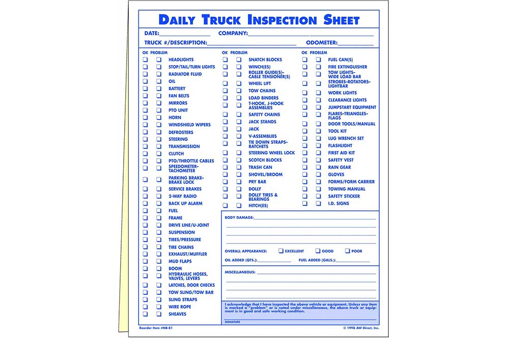 Zip S AW DIRECT Daily Truck Inspection Sheets
