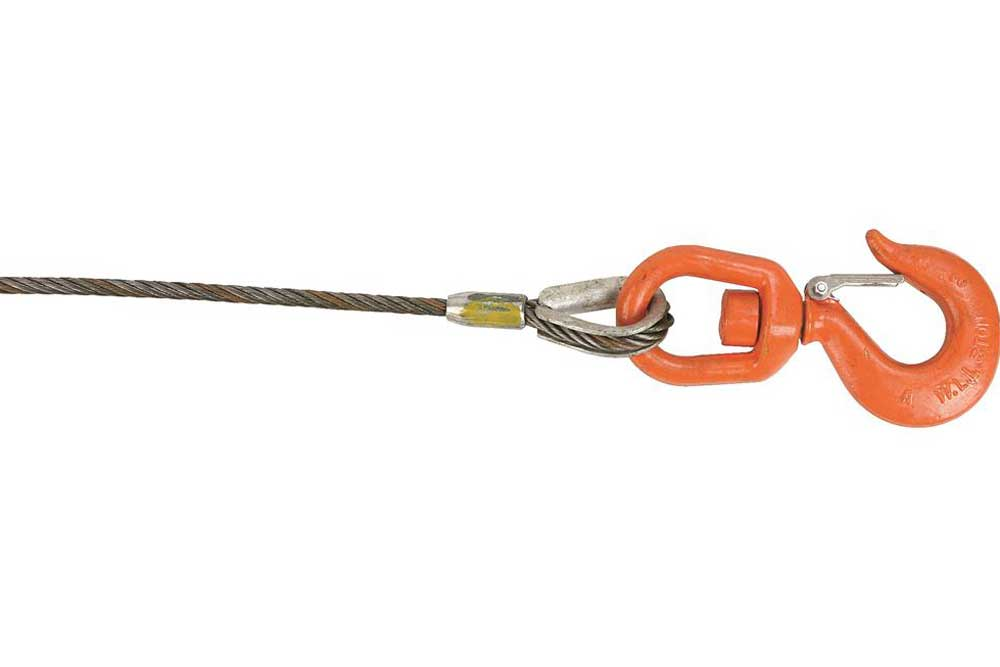 Lift-All Fiber Core Wire Rope, Swivel Hook & Latch