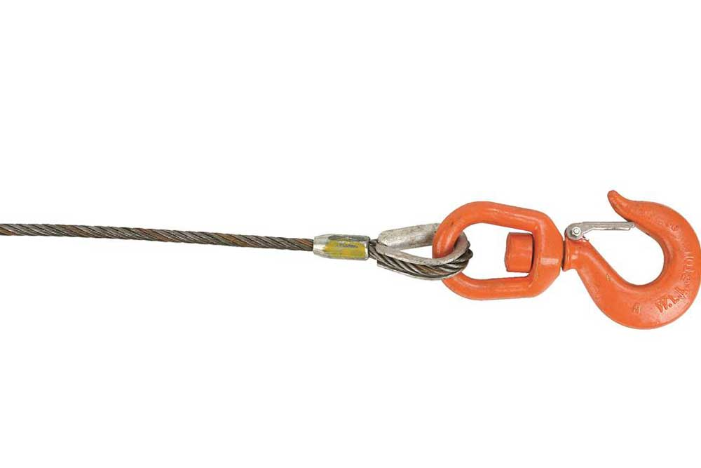 Lift-All IWRC Wire Rope Swivel Hook & Latch