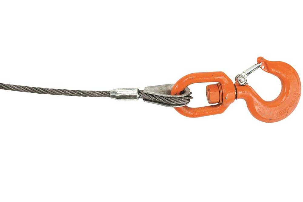 Lift-All IWRC Wire Rope, Swivel Hook & Latch