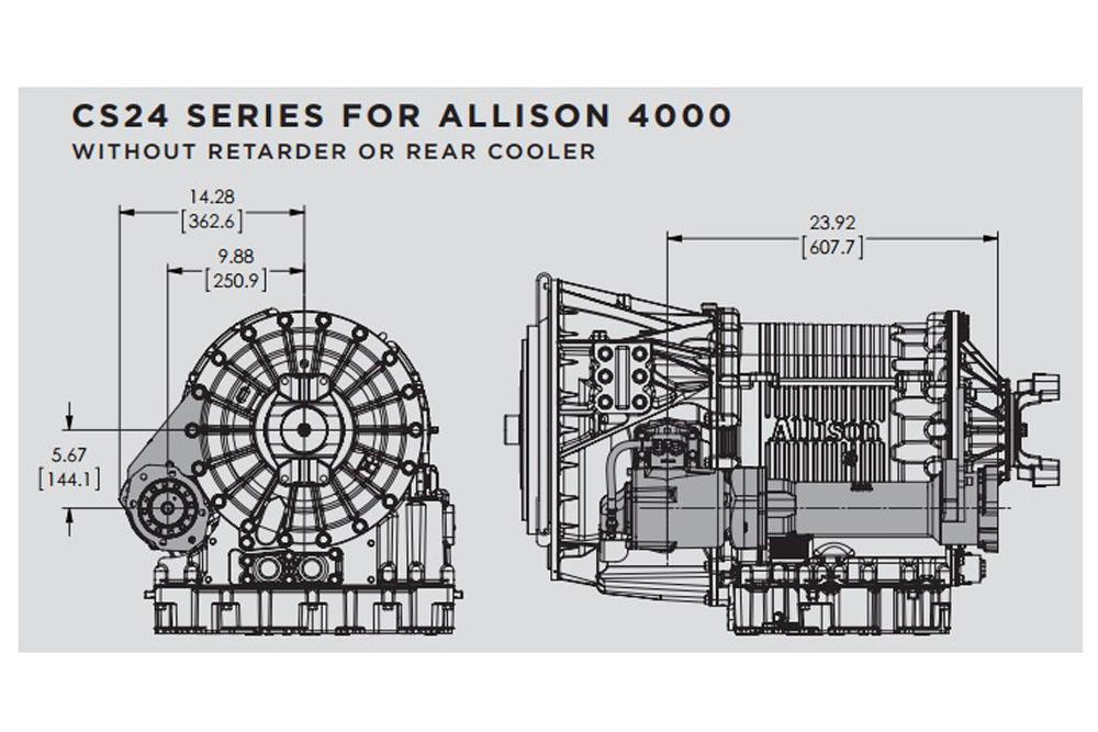 PTO Shaft Extension CS24 Series Allison 4000 Transmissions