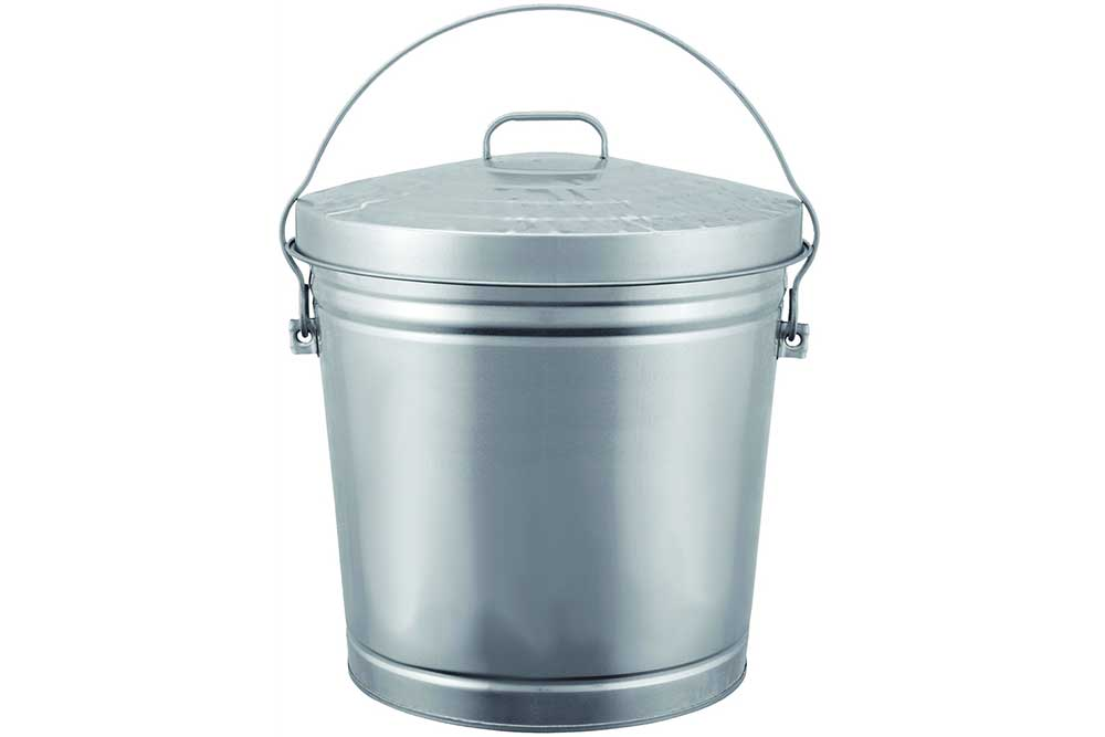 6 Gal Galvanized Steel Trash Can With Locking Lid