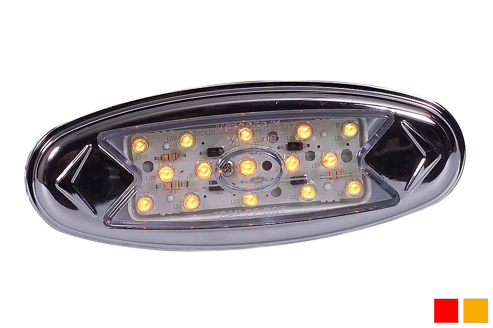 """10 Covers 2/"""" LED Side Marker Clearance Lights Round Stainless Steel Bezels"""