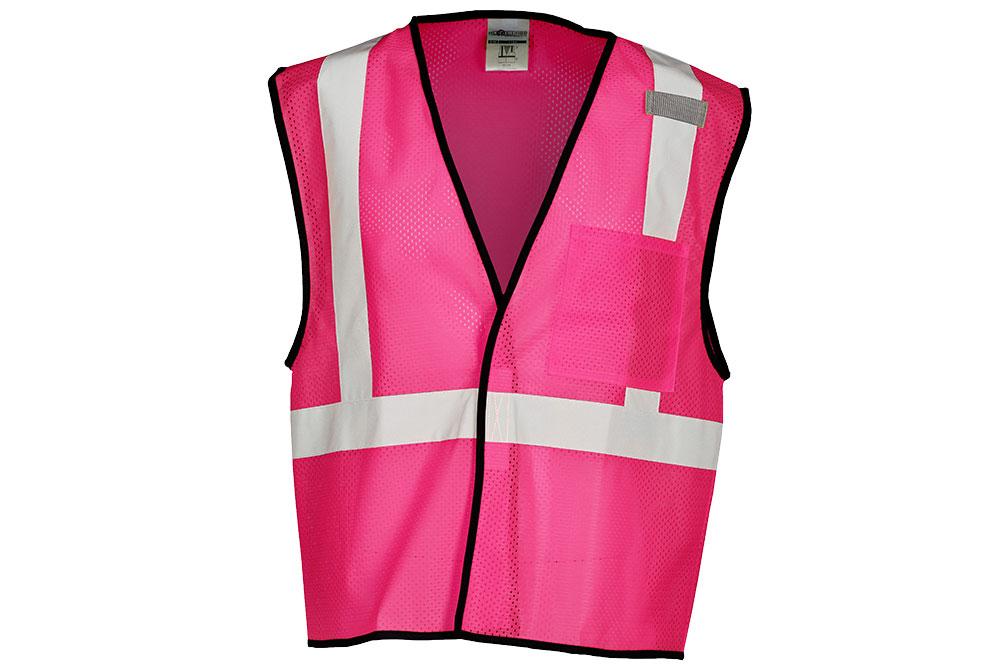 ML Kishigo Economy Enhanced Visibility Single Pocket Mesh Vest - Pink Front