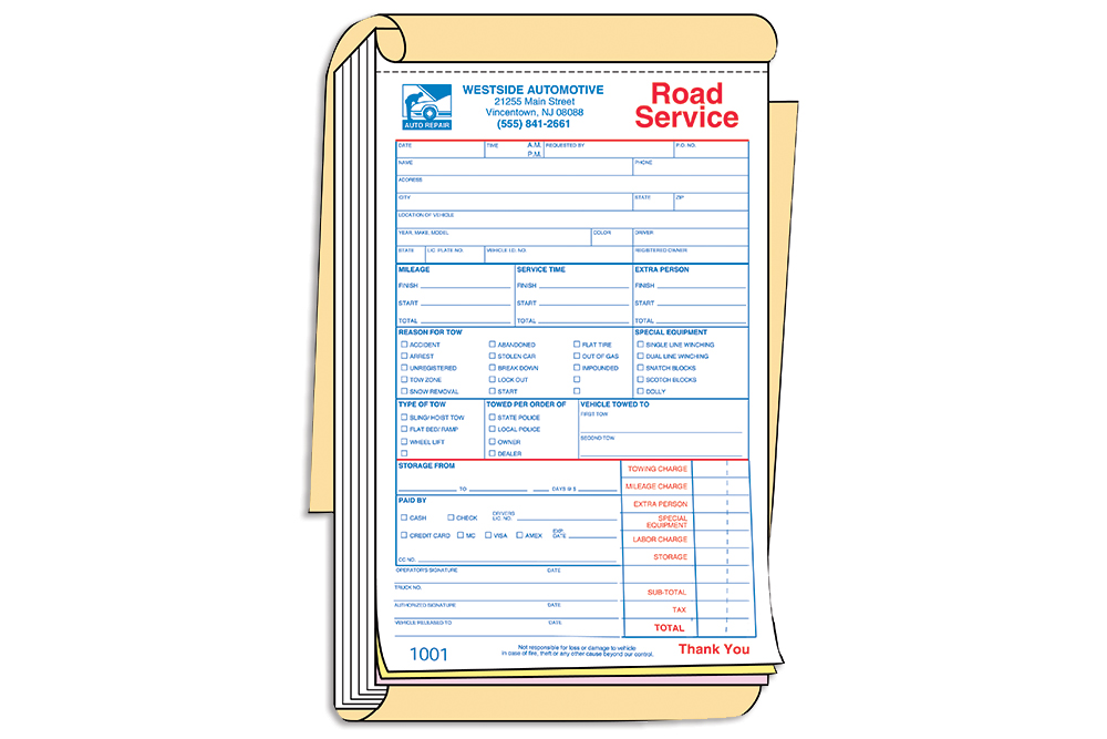 Basic Road Service Form Receipt Books