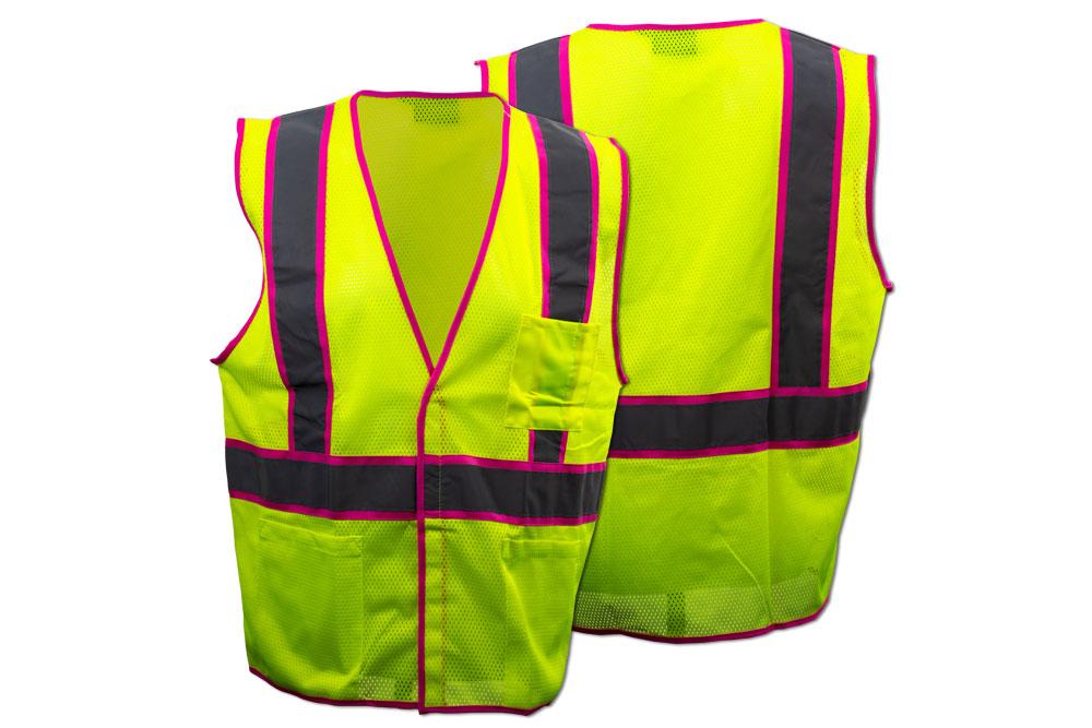 ERB Safety Class 2 Pink Trim Vest - Lime Parent