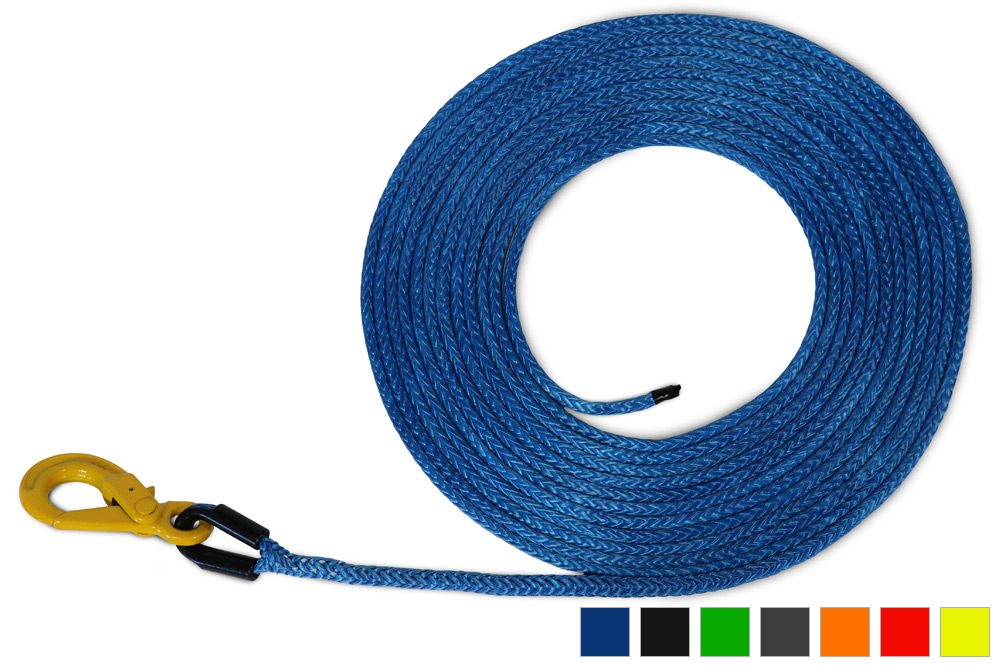 "AmSteel-Blue Synthetic Winch Lines w/ Self-Locking Hook | 5/16"" - 1/2"""