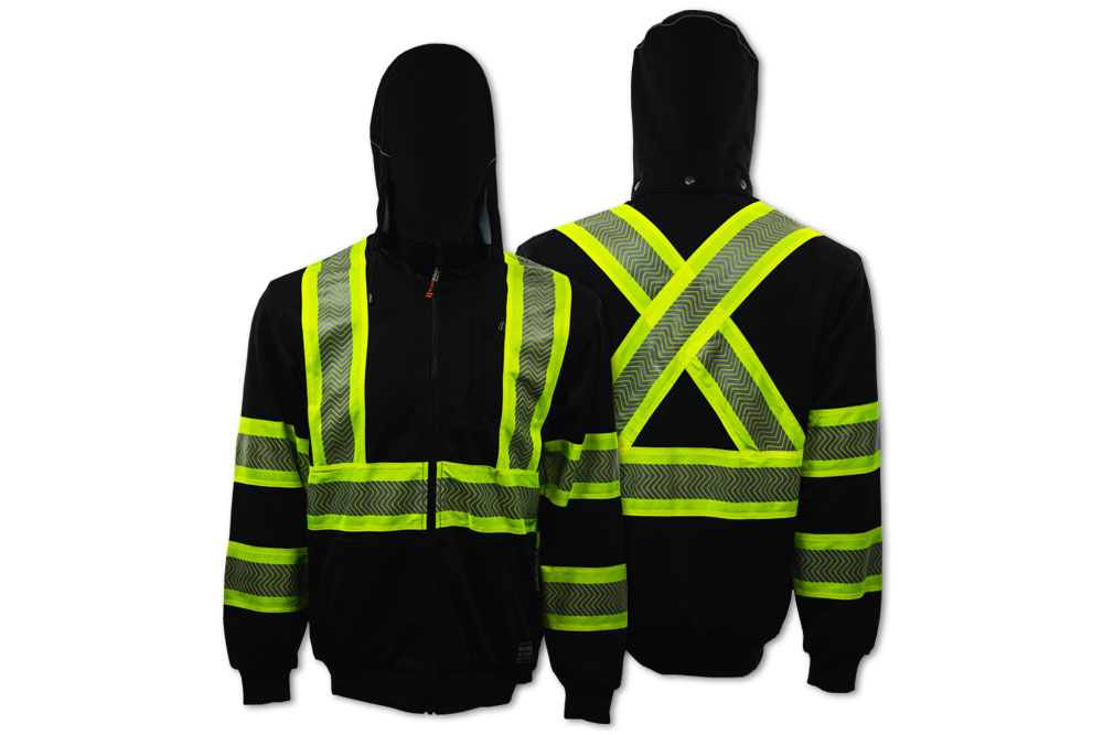 Work King Thermal Lined Safety Zip-Up Hoodie - Black Parent