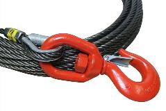 all-grip steel core winch rope with swivel standard hook | close up