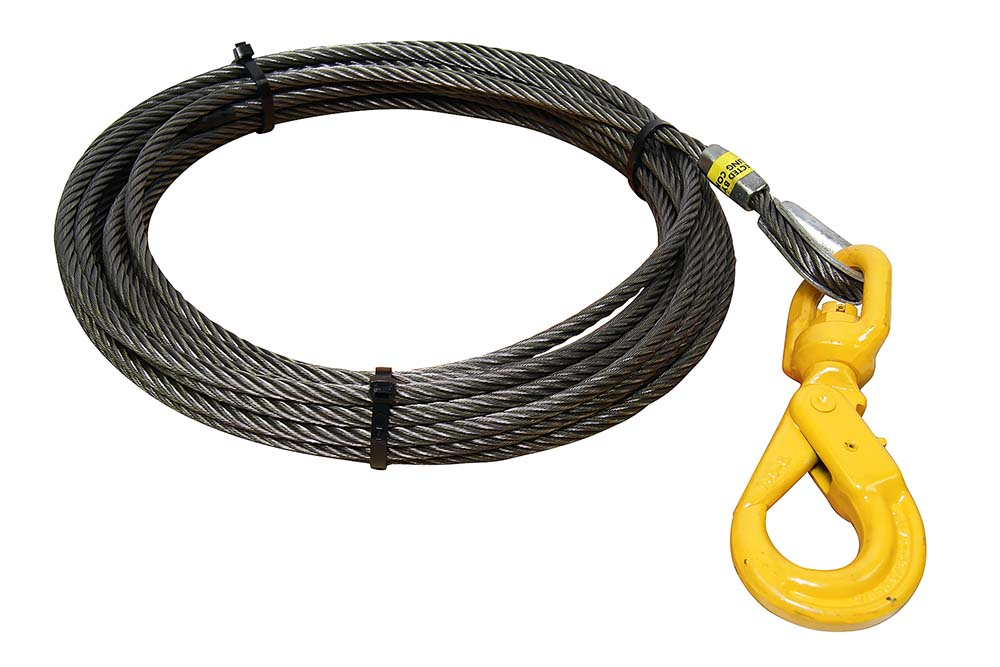 All-Grip Steel Core Winch Cable with Self-Locking Swivel Hook